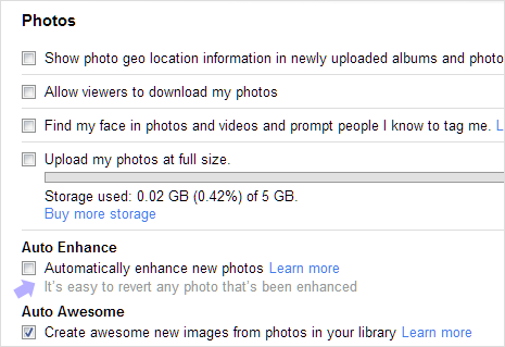 Google plus photos auto enhance settings turn off