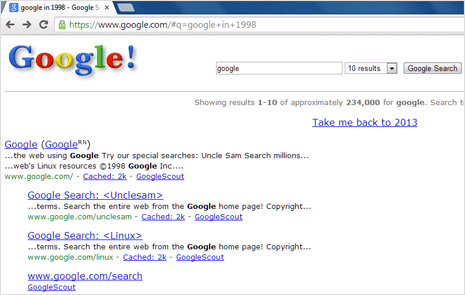 old google search website as in year 1998