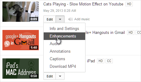 youtube video enhancement option
