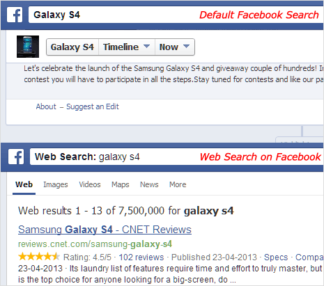 use facebook graph search box for internet web search