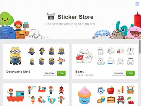add more stickers in facebook chat from stickers store