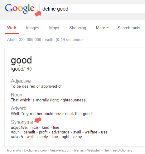 find Synonyms similar words on google search