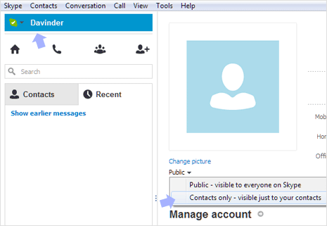 make skype profile photo private and hidden