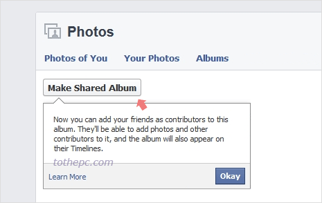 create shared photo albums on facebook