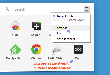chrome apps launcher sync settings