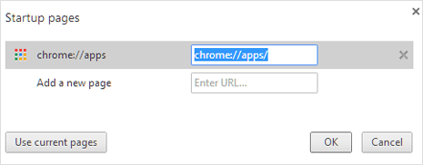 set apps list to appear on start page in google chrome