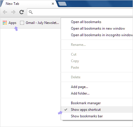 Restore & see Apps list on new tab in Google Chrome