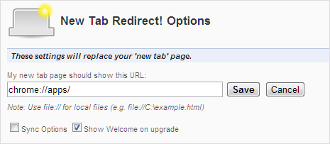 use redirect plugin to see apps list on new tab