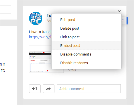 google plus embed post button
