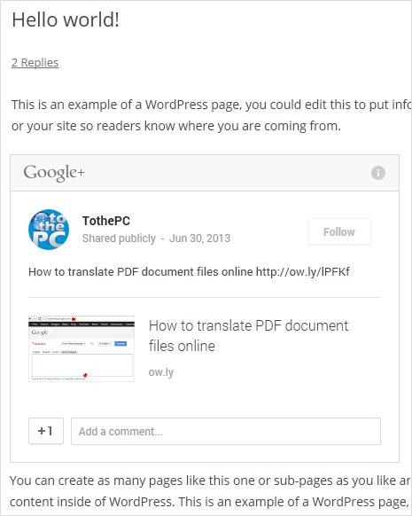 preview of embed post option on google plus