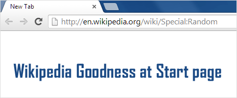 wikipedia website random page at browser start