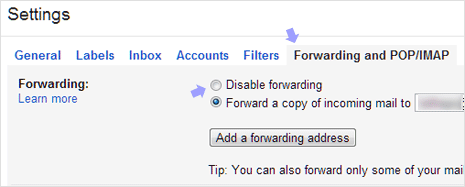 Gmail email forwarding settings