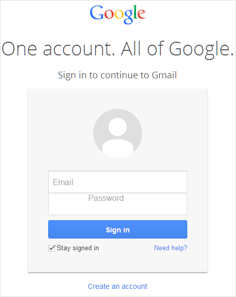 Gmail Google One Account Login page