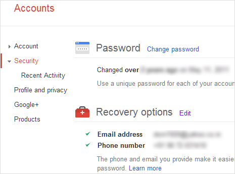Gmail account recovery settings setup