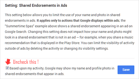 Disable Google plus endorsements in advertisement option