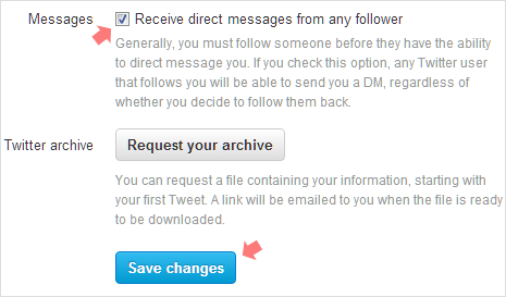 Enable get DMs from any Twitter Follower