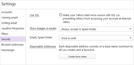 create base name for disposable yahoo mail id