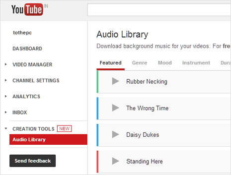 Youtube audio library to download music tracks