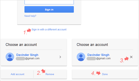 Delete previous Gmail login details