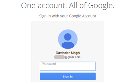 Previous login details displayed on Gmail sign in page