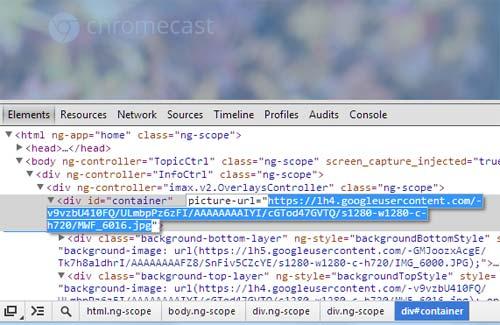 Copy image from Google Chromecast Screensaver