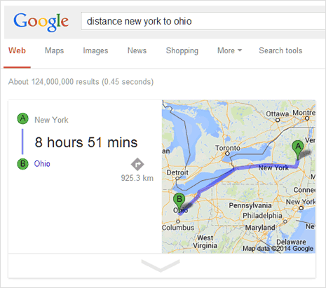 Google for travel distance, driving directions