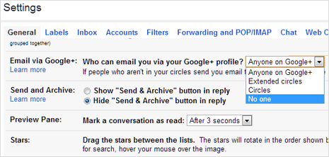 Stop Google Plus users from sending emails on Gmail