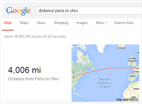 Google for travel distance miles between two places