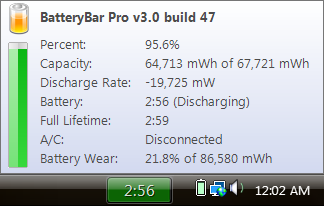 Detailed laptop battery status with BatteryBar