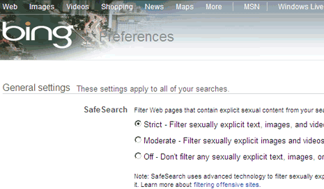 SafeSearch Off Bing http://www.tothepc.com/archives/block-mature-explicit-content-on-bing/