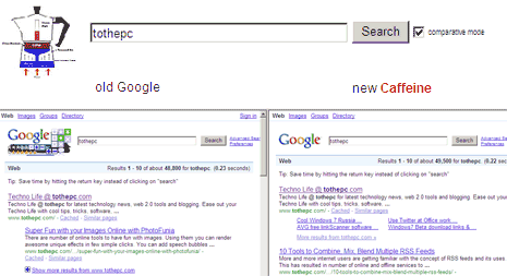 google-caffeine-compare-results
