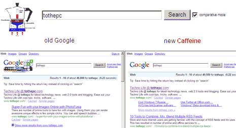 google-caffeine-compare-results