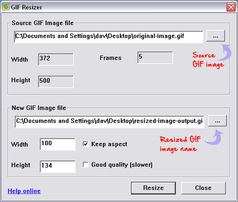 free image resizer tool. However, GIF Resizer portable tool makes resizing of animated GIF images an