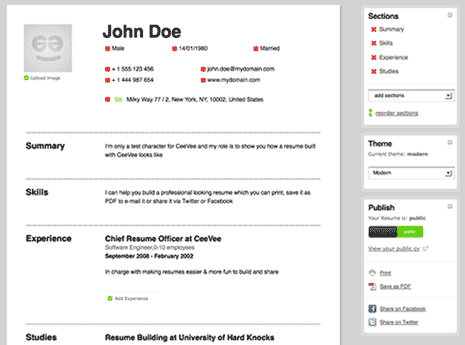 Create free Resume CV online with neat design