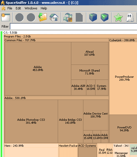 Analyse hard drive space in real time [Portable app]