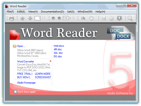 Free software to open docx, doc files [Word Reader]