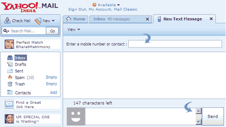 How to send free SMS from Yahoo Mail to any mobile phone?